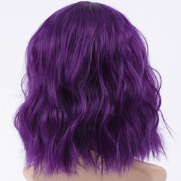 Parrucca corta viola nera online-Brevi parrucche ondulate per le donne nere Parrucche sintetiche afroamericane capelli sintetici con frangia parrucca resistente al calore