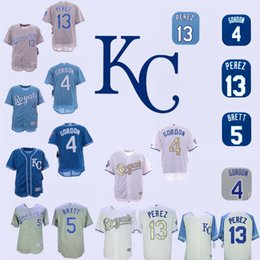 camiseta de béisbol mundial Rebajas Hombres Kansas City Alex Gordon Jersey Royals George Brett Salvador Perez Blanco 2015 World Series Baseball Jerseys
