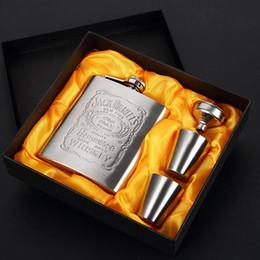 coffret cadeau en acier inoxydable Promotion Portable Drinkware bouteilles de vin 7 oz 200 ml en acier inoxydable hanche ballon ensemble homme cadeau boîte flacons hanche avec entonnoir Mini tasse Whisky BH1318 TQQ