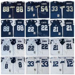 Dallas Cowboys 8 Troy Aikman Jersey Men 12 Roger Staubach 21 Deion Sanders  22 Emmitt Smith Vintage Football Jerseys Blue White Thanksgiving eb5e25153