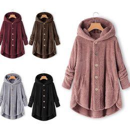 mulher casaco carreira preto Desconto Atacado roupas de outono e inverno botão das mulheres camisa de veludo dupla face cor sólida solta irregular era fina jaqueta tamanho XS-4XL