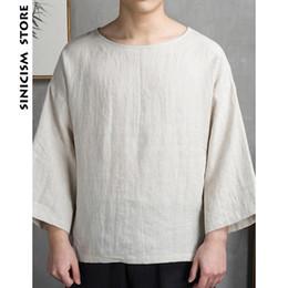 Tiendas de camisas online-Sinicism Store Mens Cotton Linen T-shirt Summer Oversized Baggy Clothes Chinese Traditional Male Vintage Thin camiseta