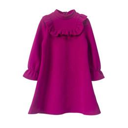Платья для девочек из флиса онлайн-Толстые бархатные платья для девочек 2018 осень-зима девушка-подросток теплое флисовое фиолетовое платье-толстовка дети рябить принцесса ну вечеринку платья Y190516