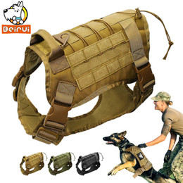 Zug-patches online-Tactical Dog Training Vest Military K9 Wasserdichtes Geschirr mit abnehmbaren Molle Beuteln / Aufnähern für große Hunde Q190523