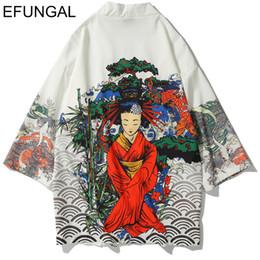 Abrigos japoneses mujer online-EFUNGAL Hombres Mujeres Kimono Chaquetas de estilo japonés Abrigos Hip Hop 2019 Primavera Verano Puntada abierta Streetwear Casual Harajuku Outwear