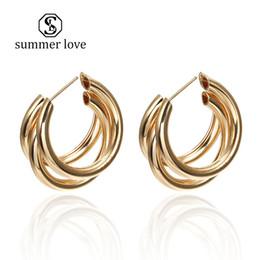 c35261029 Hot Sale New Fashion Hoop Earrings Simple Gold&Silver Metal Girl C Shape  Trend Earrings For Women Jewelry Gift