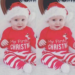 2019 onesie recém-nascido de natal 2 Pcs Natal Bebê Recém-nascido Menina Roupas de Menina Carta Bodysuit Onesie + Stripe Deer Calças Roupa Roupas de Natal Roupas Infantis onesie recém-nascido de natal barato