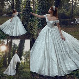 f67b53b53d56f 2019 New Arrival Full Lace Wedding Dresses A Line Off Shoulders Sexy Low  Cut Back Chapel Train Long Bridal Gowns Formal Arabic BC1015