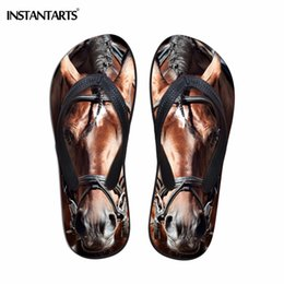Zapatos rosa para perros online-INSTANTARTS Chanclas de verano para mujer 3D Cute Animal Crazy Horse Dog Pattern Soft Slip-on Slippers Mujer Flats Beach Shoes Slides