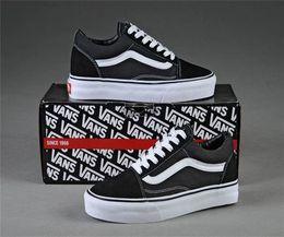 Van shoes on-line-New Vans Old Skool tênis de lona medo de deus clássico preto branco vermelho YACHT CLUB azul para homens mulheres sapatos de Skate