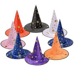 decoração para bonés Desconto Trajes de Halloween Chapéu Adereços Decoração Do Partido Do Dia Das Bruxas Legal Bruxas Feiticeiro Chapéus Cap Masquerade Adereços Chapéu Bruxa Várias Cores BH2055 CY