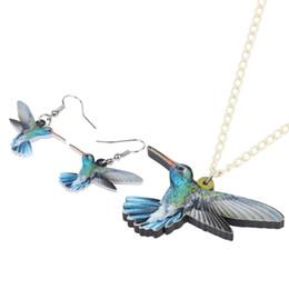 orecchini per adolescenti Sconti Set di gioielli in acrilico Bonsny Orecchini pendenti per collana di uccelli colibrì Girocollo Moda Pendente per donne Ragazze Decorazione per adolescenti