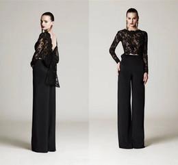Due pezzi di pizzo nero formale abiti formali con grande arco maniche lunghe abiti da sera arabi su misura plus size abiti da ballo DH4209 da