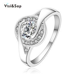 Proveedores de oro blanco online-Eleple oro blanco Anillos de color para las mujeres Anillo de compromiso Alianzas de boda regalos Accesorios de joyería al por mayor proveedor VSR006