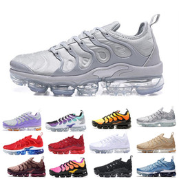 caixas de sapatos grátis Desconto PADRÕES de PRATA TN Plus Mens Mulheres Running Shoes Bumblebee Olho Olímpico Triplo Branco Preto Esportes Tênis 36-45 Frete Grátis