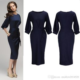 8f87c1ece9f8 Nice Pop Dark Navy Women Office Dresses Half Sleeves Knee Length Clothing  Women Work Wear Casual Pop Design Patchwork Dress
