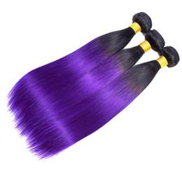 2019 pêlo virgem brasileiro ombre púrpura Cabelo Virgem brasileira Onda Em Linha Reta Ombre 1B Roxo cabelo Humano 2 Tone 3/4 Bundles Ombre Extensões de Cabelo Brasileiro desconto pêlo virgem brasileiro ombre púrpura