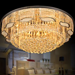 2019 luzes de candelabro de controle remoto Modern K9 de Cristal de Cristal luz de Teto luxuoso Lustre de Cristal De Ouro Brilho CONDUZIU a Lâmpada bulbo de Controle Remoto para o Hotel Sala de estar Villa luzes de candelabro de controle remoto barato