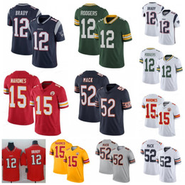 Camisetas empacadoras online-15 Patrick Mahomes Jerseys de Kansas City Jefe 12 Aaron Rodgers Packers Chicago 52 Khalil Mack Bears 12 Tom Brady Patriots Green Bay Nuevo