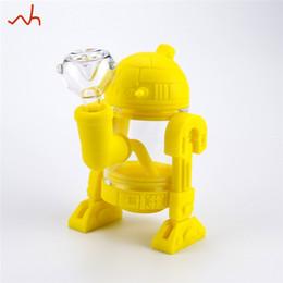SILICLAB design R2D2 robot silicone bang tuyau de brûleur à mazout retiré le long de la tige 14mm verre bol narguilé pipes shisha bongs pour fumer grossistes ? partir de fabricateur