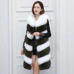 Жилет средней длины онлайн-SWENEARO Winter Faux Fur Vest Artificial  Fur Coat for Women Patchwork Medium Length Faux Women's plus long Vest female