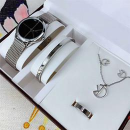 Tocou relógio on-line-Super Presente Relógios Pulseira Anel Brinco Colar Top de Luxo Mulheres de Aço Inoxidável Malha Relógios De Pulso Ultra Fino Relógio senhora de Quartzo-Relógio