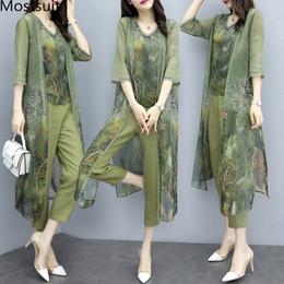 Pantalones verdes coreanos online-Summer Green Chiffon Printed 3 Piece Sets Mujeres Plus Size Vest + cardigan + cropped Pants Trajes Elegant Korean Womens Sets Femme MX190810