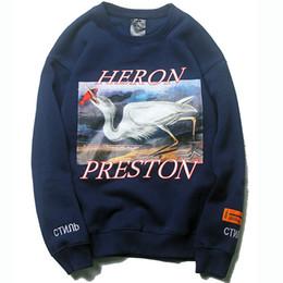 Pulls hip hop pour hommes en Ligne-Heron Preston Hoodie Hip Hop Crane Imprimé Sweatshirts hommes Pullovers Streetwear Heron Preston Designer hoodies Bleu