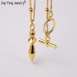 dowsing pêndulos Desconto Jingyang Reiki Pingente De Cobre Pêndulo Harmonia Pêndulos Para Radiestesia Rosa de Ouro Europeu Moda Com Cadeia Necklase