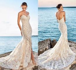 Vestido de novia de hendidura delantera cariño online-2019 de boda del cordón atractivo de la sirena vestidos de novia de la playa de hendidura frontal de espalda Vestidos de novia Vestidos de Noiva