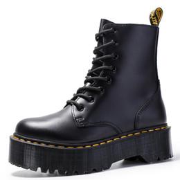 Size34-41 Chunky Motos Botas para mulheres Outono 2019 Moda Rodada Toe botas de combate Lace up Senhoras sapatos de