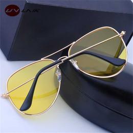 occhiali da sole piloti Sconti WANMEI.DS driver Occhiali Notte di guida da sole donne degli uomini UV400 Shades Pilot Sunglass Uomo Donna Night Vision Goggle Glass