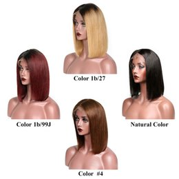 Pelucas rubias del pelo humano barato online-Pelucas delanteras de encaje de cabello humano de color barato Ombre Pelucas delanteras de encaje Bob cortas rubias peruanas para mujeres negras