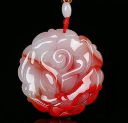 Chicken Blood Jade Pendant Xinjiang Hetian Magnolia Flower Pendant Jade Floating Flower Necklace Men Women Jade Jade Pendant