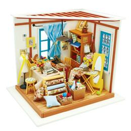 casa in miniatura all'ingrosso diy Sconti Commercio all'ingrosso casa di bambola fai da te di sona camera dei bambini per adulti in miniatura casa delle bambole in legno kit di costruzione di giocattoli educativi DG101