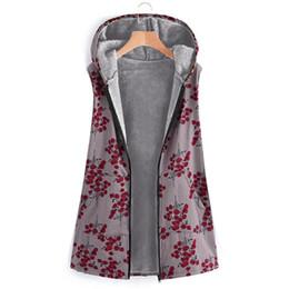 2019 blumenkapuzenweste CHAMSGEND Frauen Sleeveless Weste Mode für Frauen Winter-Blumendruck mit Kapuze Taschen Vintage-Aufmaß Mäntel Plus Size Vest No14 rabatt blumenkapuzenweste