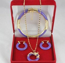 2019 jade de pulseira roxa transporte Bijuteria Purple Jade Bangle Brinco de pingente de dragão Setfree jade de pulseira roxa barato