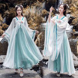 Vestido de princesa de la dinastía Tang de las mujeres del verano tradicional hanfu cosplay ropa mujeres estilo coreano baile etapa desgaste desde fabricantes