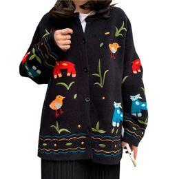 2019 casacos de malha grandes mulheres 2019 Primavera Outono Mulheres Camisola Cardigan Das Mulheres Tamanho Grande Dos Desenhos Animados Blusas Bordadas Moda Feminina tricô Casaco Camisola casacos de malha grandes mulheres barato