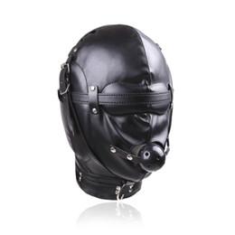 2019 kugelhaube bdsm Sex Fetisch PU Haube Kopfbedeckung mit Mundknebel Masken BDSM Bondage Sex Maske Erotikspiele Sex Produkt für Paare J10-1-73 rabatt kugelhaube bdsm
