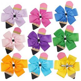 2019 ragazze indietro i capelli Multicolor Girls Grosgrain Ribbon Matita arco forcine bambini carino Barrette bambini torna a scuola accessorio capelli A08 ragazze indietro i capelli economici