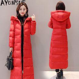 AYUNSUE Winter Ente Daunenjacke mit Kapuze Frau Red Long Coat Plus Size Daunenjacke Frauen Parkas Chaquetas Invierno Mujer KJ470 T191211