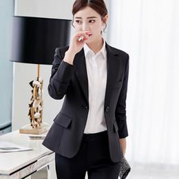 coreani blazer Sconti Blazer da donna a un bottone nero Donna 2019 Primavera Autunno Office Lady Abito coreano Giacche Blazer Femme Top da ufficio Cappotti