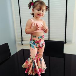 6dccc90322a INS Children Clothes Fashion Girls Tank Top Vintage Floral Flares Pants  Designer Summer Kids Clothing Set