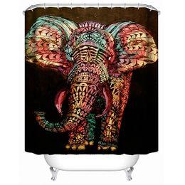 rideaux blanc noir rouge Promotion Mildewproof imperméable de salle de bains de rideau en douche d'eau d'éléphant imprimé par 3D