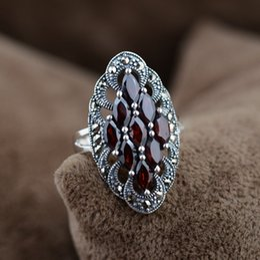 2019 anillo de jade indio anillo de piedra natural 925 Joyería de plata esterlina Anillo de piedra natural Pendientes de granate Colgante Estilo indio vintage para mujer Anillos De Plata anillo de jade indio baratos