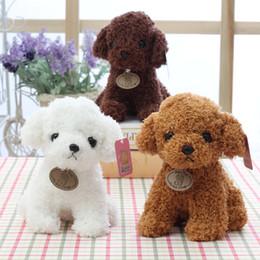 2019 venta al por mayor osos de peluche llaveros Marrón claro 20CM Pequeño perrito relleno felpa perros de juguete blanco naranja suave marrón muñecas del bebé Juguetes para niños regalos para la fiesta de cumpleaños infantil