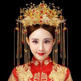 T1002 nuovo modello sposa Copricapo Phoenix Coronet di stile cinese Wedding Accessori per capelli nappe Passo Agitare nuziale Corona Orecchini da costume di abbigliamento hanfu fornitori