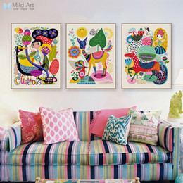 painting horses modern art Coupons - Modern Abstract Colorful Animal Deer Horse llama Posters Nordic Wall Art Prints Pictures Vintage Home Decorative Canvas Painting