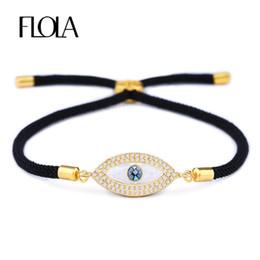 bijoux oeil turc Promotion FLOLA Turkish Gold Evil Eye Bracelet pour Femme CZ Zircon Shell Eye À La Main Noir Corde Homme Bracelet Bijoux Cadeau Pulseira brta87